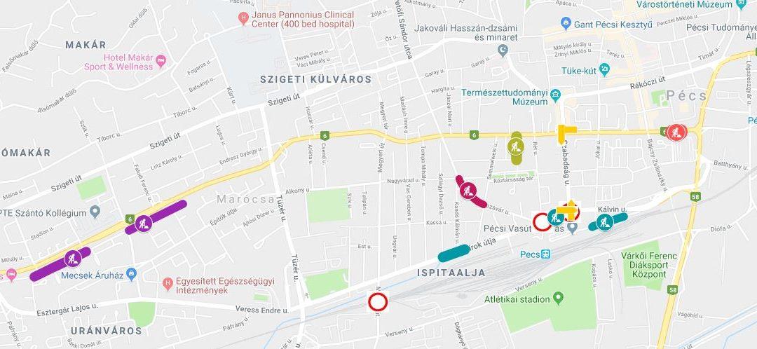 Pécsi útfelújítási munkálatok 03.12-03.26 között